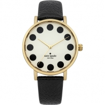 Black Metro Cream Dial Black Leather Ladies Watch