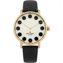 Black Metro Cream Dial Black Leather Ladies Watch